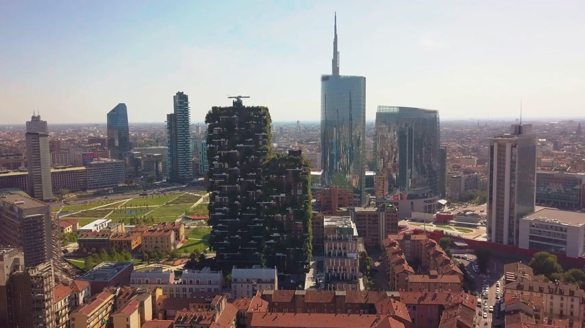 milan : Aerial view. Modern and ecologic skyscrapers with many trees on every balcony. Bosco Verticale, Milan, Italy