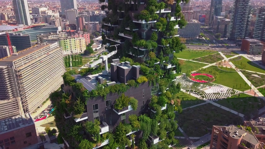 garibaldi : Aerial view. Modern and ecologic skyscrapers with many trees on every balcony. Bosco Verticale, Milan, Italy