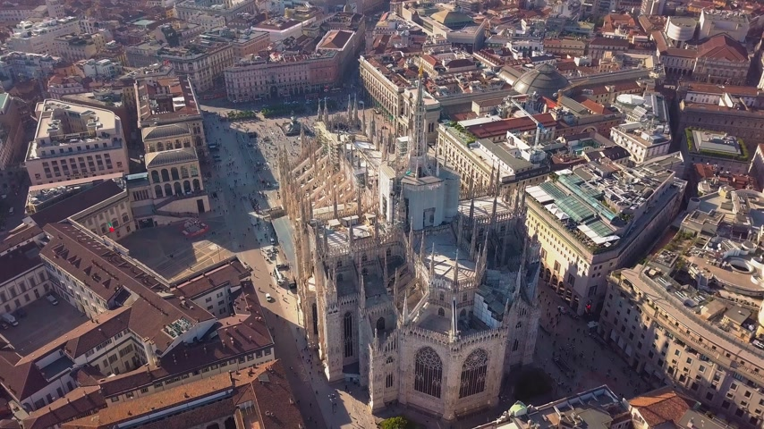 madona : Aerial drone footage of famous statue on cathedral Duomo in Milan Italy