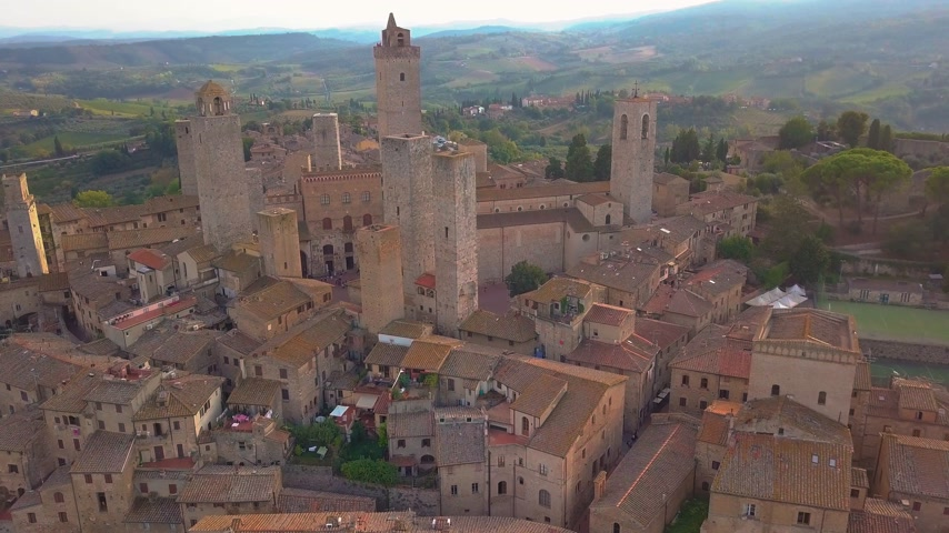 enjoyable : Aerial footage of San Gimignano, Italy. Located in the region of Tuscany. Stock Footage