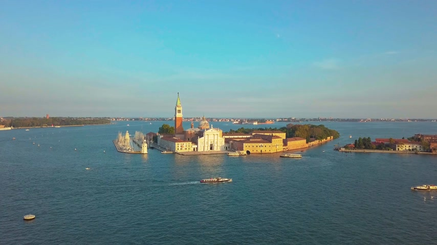 venetian lagoon : Venice Cityscape Aerial View Grand Canal San Marco Bell Tower Mark Square Italy