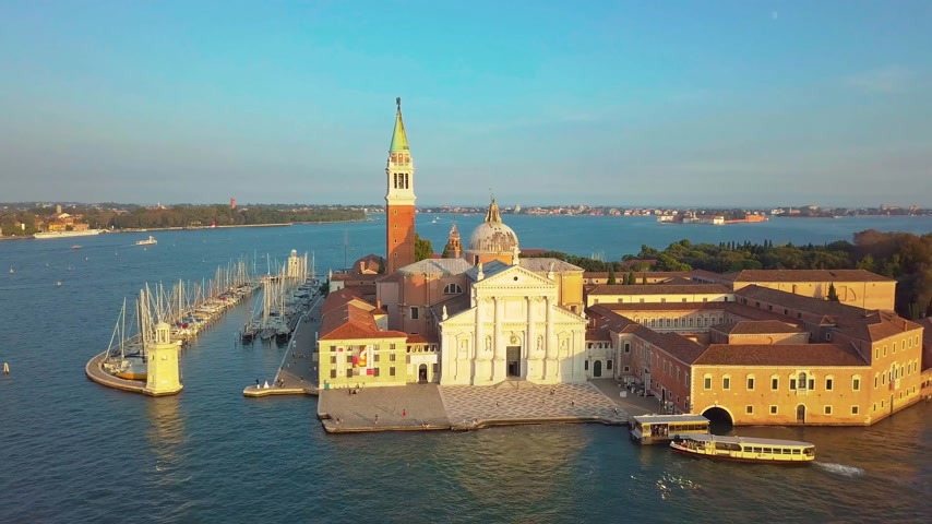 red square : Venice Cityscape Aerial View Grand Canal San Marco Bell Tower Mark Square Italy