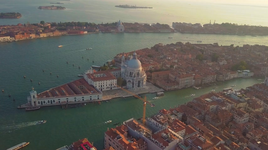 venetian lagoon : Aerial view. Beautiful Skyline Sunset in Venice Grand Canal Italy