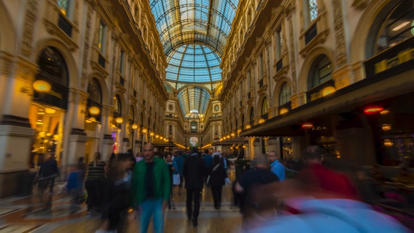 emanuele : milan city famous shopping duomo gallery panorama 4k time lapse italy