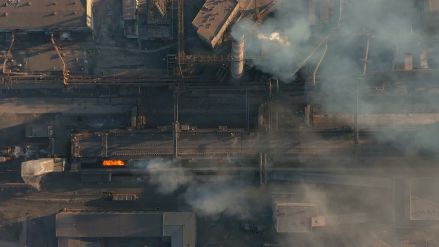 metallurgical plant : Aerial view. Emission to atmosphere from industrial pipes