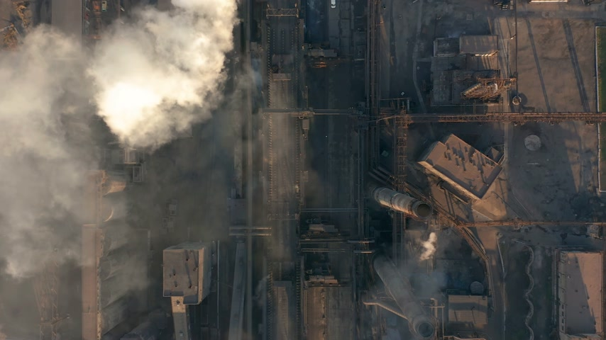metallurgical plant : Aerial view. Industry Pipes Pollute the Atmosphere With Smoke