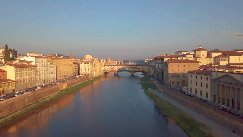 arno : Aerial view. Florence Ponte Vecchio Bridge and City Skyline in Italy.