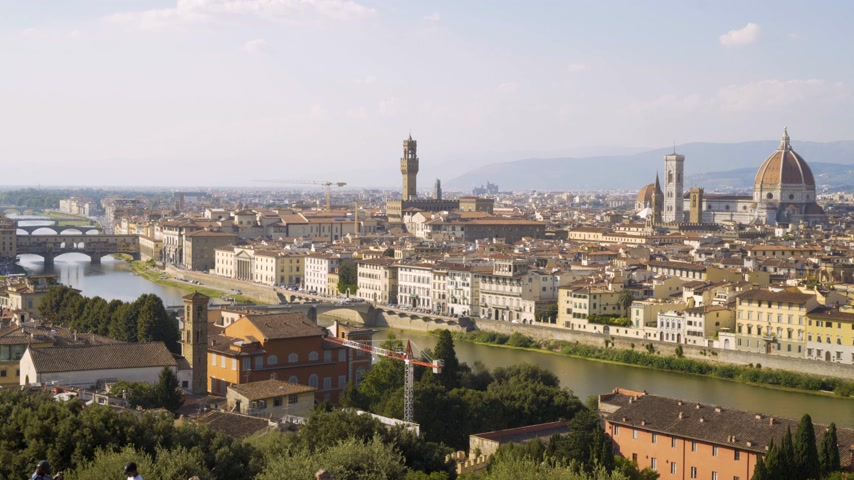 arno : Aerial view of Florence, tuscany, Italy. Flying over the Florence roofs.