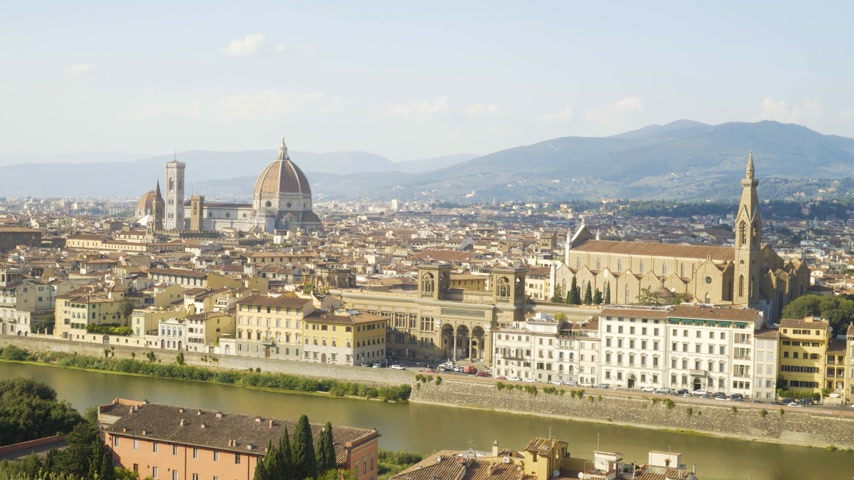 firenze : Aerial view of Florence, tuscany, Italy. Flying over the Florence roofs.
