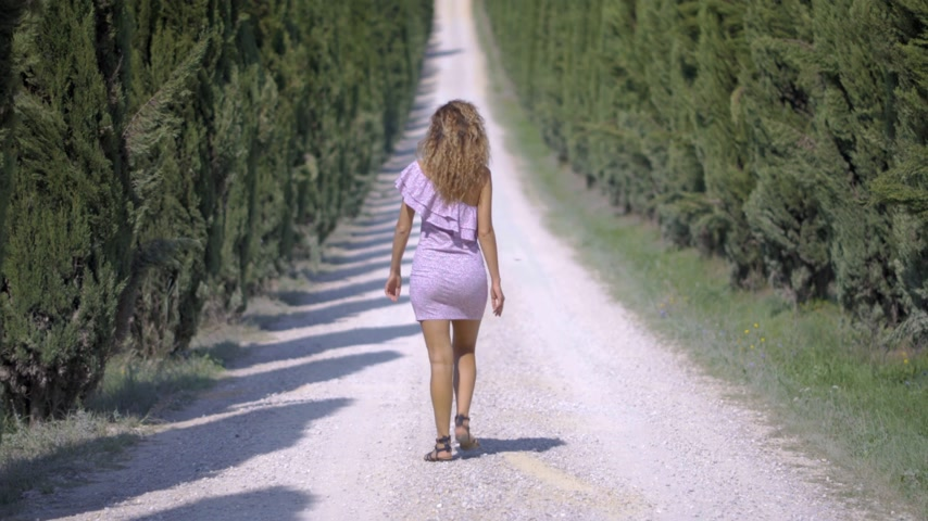 verhuizen : Back view a woman in a dress goes away into the distance along the cypress alley, of decorative and neat tall green trees in the park. On a Sunny summer day. 4k Stockvideo