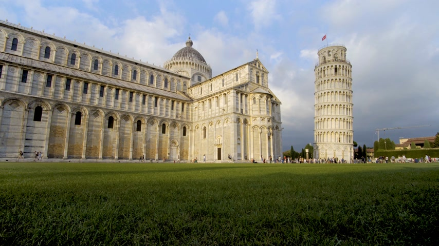 toscana : Leaning Tower, Dome of Pisa, Tuscany, Central Italy, Square of Miracles, Tourists Attraction, UNESCO,4k