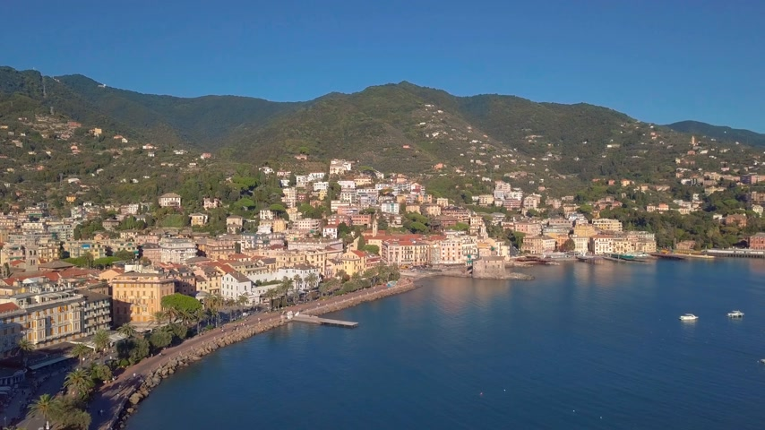 temper : Aerial view of the Italian Riviera, Rapallo, Italy