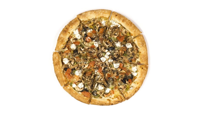 çili : Rotating pizza with smoked sausage and olives on a white background. Top view center orientation Stok Video