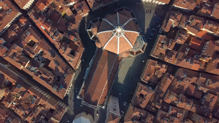 firenze : Aerial view. top view of the cathedral Florence, tuscany, Italy. Flying over the Florence roofs.