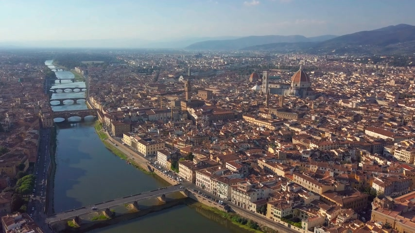 vecchio : Aerial panoramic view of Florence at sunset, Italy