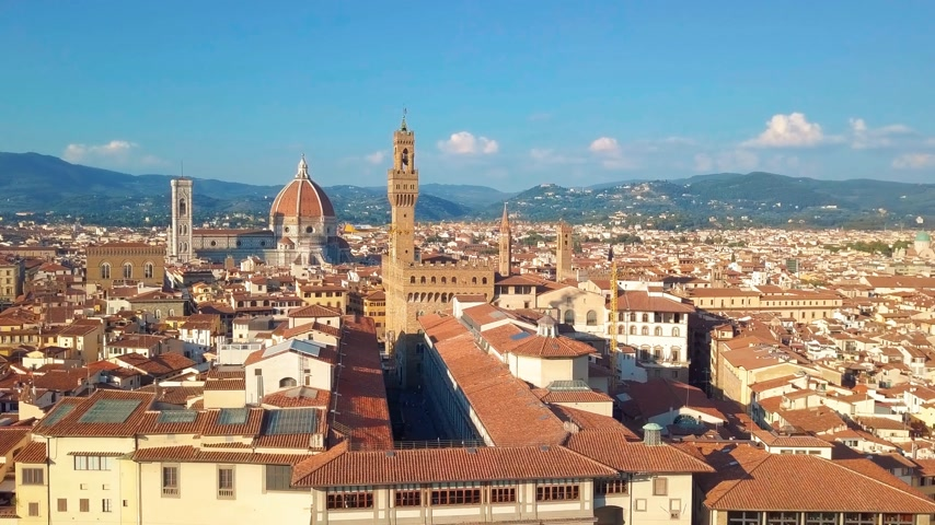 vecchio : Aerial view. panoramic view of Florence in Italy Stock Footage