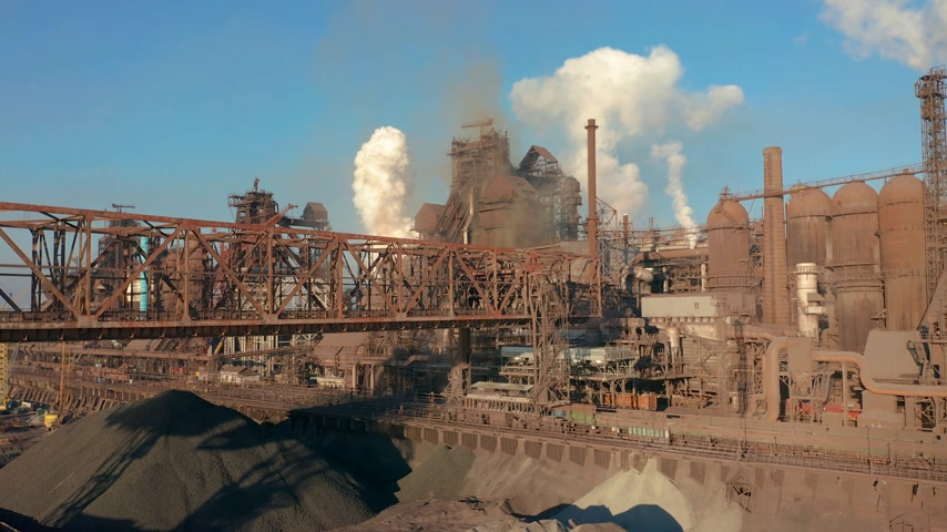 blast furnace : Aerial view. Blast furnace construction. Metallurgical Plant, Cargo crane