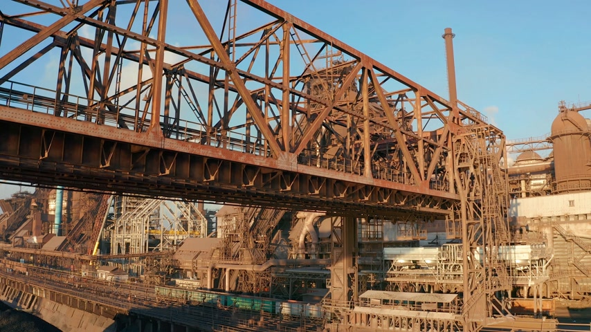 construction crane : Aerial view. Metal structures of an industrial metallurgical plant