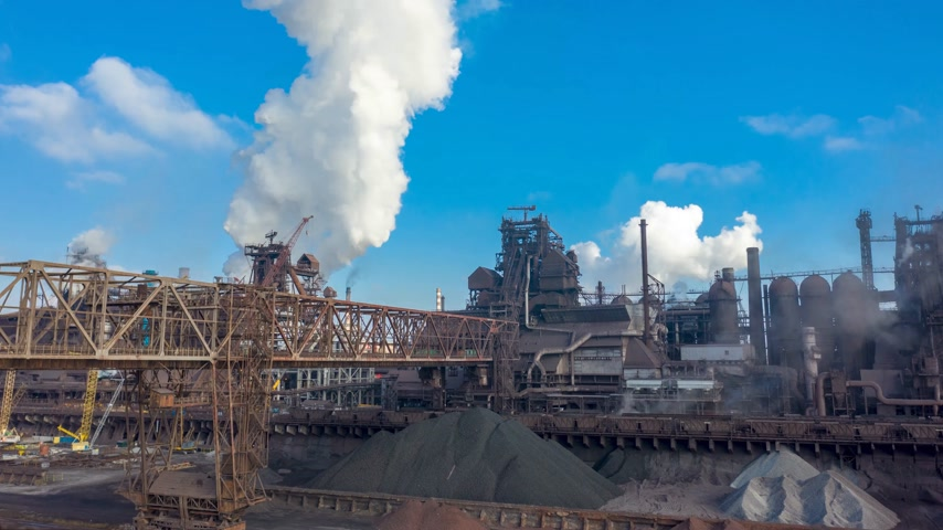 ironworks : Aerial view. metallurgical production, operation of blast furnaces, hyperlapse Stock Footage