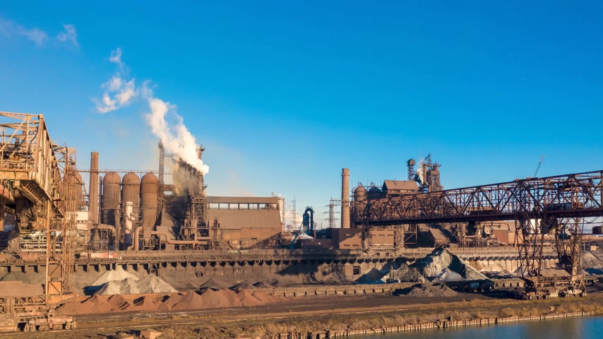 ironworks : Aerial view. metallurgical production, operation of blast furnaces, crane work, hyperlapse Stock Footage