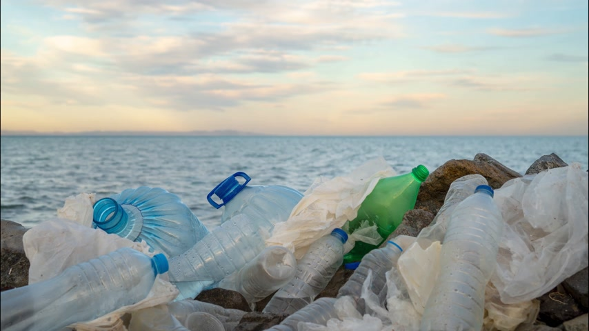 catástrofe : Timelapse. Plastic bottles in a polluted. Clouds background