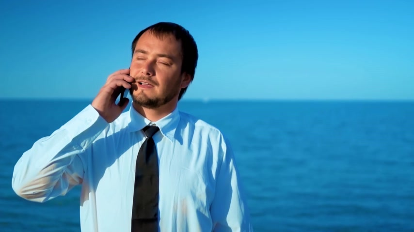 çözme : The businessman on the background of the beautiful sea talking on the phone, solving cases