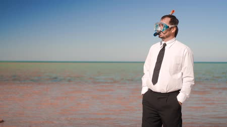 zawód : The businessman stands on the beach in a mask and snorkel Wideo