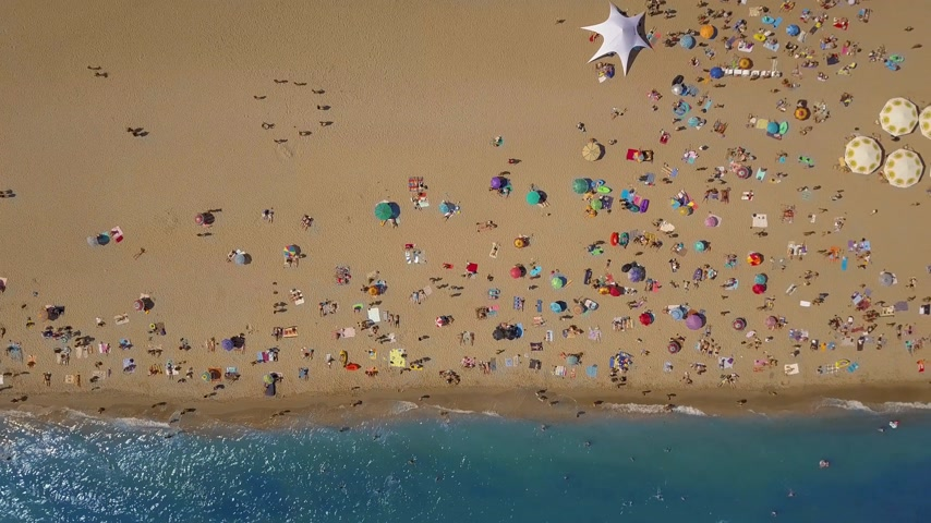 relaks : Top view Beach. Aerial view from flying drone Wideo