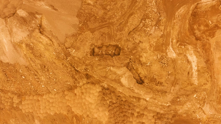 base station : Aerial view. flight over the surface of planet Mars