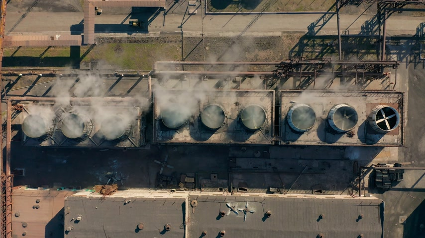 fire facilities : Aerial view. Coke plant. Coke batteries. Old factory. Industrial view