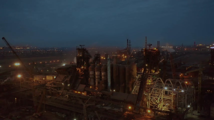 petroleum refinery : Aerial top view of power plant energy industry factory in night abstract background top view pollution concept Stock Footage