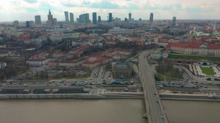 warszawa : Warsaw Downtown Skyline City Time Lapse with clouds Dynamic, Poland