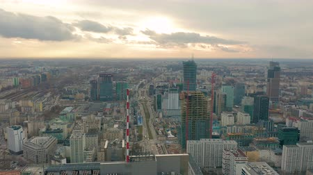 sosyalizm : Aerial view of Warsaw dawntown, Palace of Culture, Poland