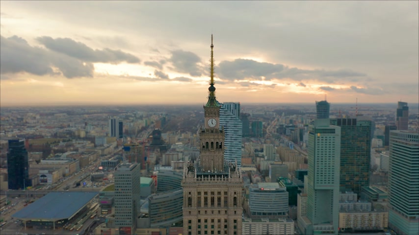 birdseye : Palace of Culture and Science tower and Warsaw panorama, Poland. Aerial view