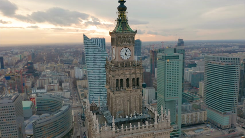 sosyalizm : Busy Warsaw city centre with Palace of Culture and Science and other new skyscrapers in the view. One of the highest building of Europe. Aerial view