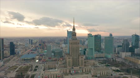 warszawa : Busy Warsaw city centre with Palace of Culture and Science and other new skyscrapers in the view. One of the highest building of Europe. Aerial view