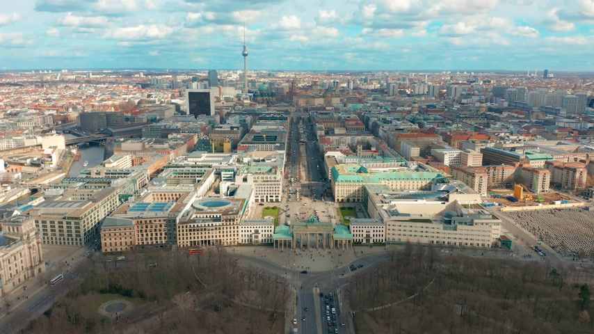 berlin skyline : Berlin Brandenburg Gate aerial view with city traffic