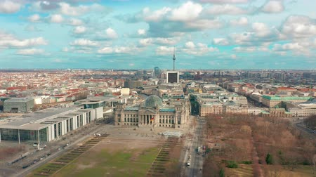 chancellery : Aerial view. of Reichstag in Berlin 4K Stock Footage