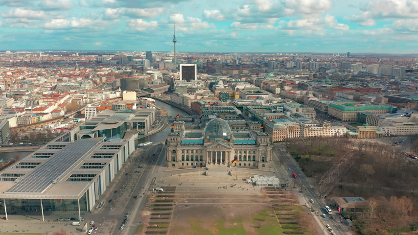 berlin skyline : Aerial view. of Reichstag in Berlin 4K Stock Footage