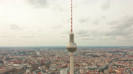 berlin skyline : Panoramic view of Berlin with TV tower, one of the city symbols. Clouds move fast across the sky.