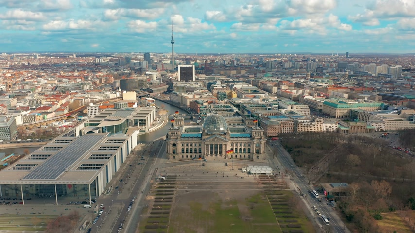 chancellery : BERLIN, GERMANY - MARCH 28, 2019. Aerial view. Reichstag in Berlin 4K.