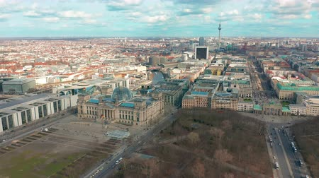 bundestag : BERLIN, GERMANY - MARCH 28, 2019. Berlin Brandenburg Gate and Reichstag panorama. Aerial view
