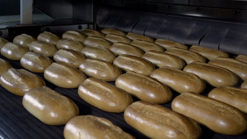 automatyka : Loaf of bread on the production line in the bakery. Baked loaf of bread in the bakery, just out of the oven with a nice golden color. Bread bakery food factory production with fresh products.