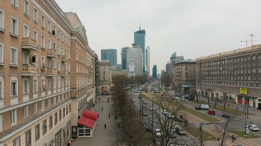 коммунизм : Warsaw, Poland March 20, 2019 Aerial view. Busy Warsaw city centre with new skyscrapers in the view.