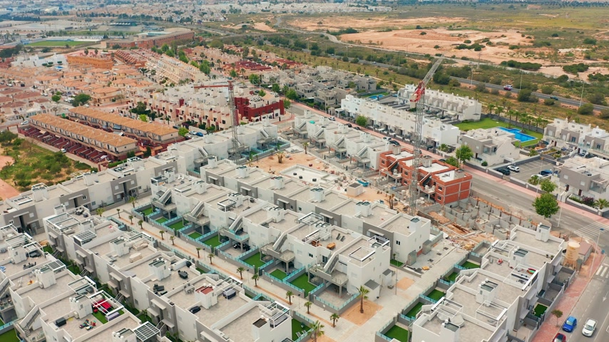 vrijstaand huis : Aerial view. a contruction area with new buildings. spain, costa blanca, alicante, torrevieja.