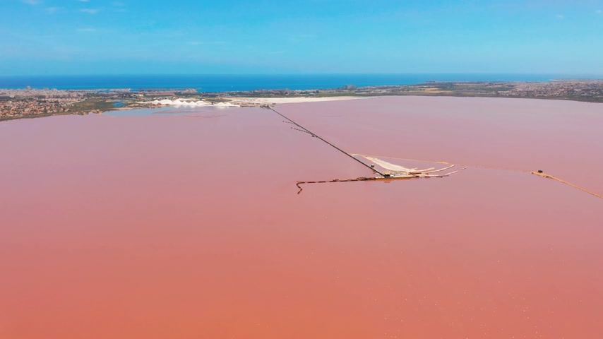 コスタ : Panoramic aerial view video of Las Salinas, bright color famous place pink lake. Coastline of Torrevieja city and Mediterranean Sea. Costa Blanca. Province of Alicante. Spain. 動画素材