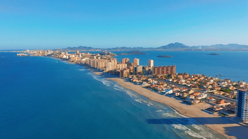 salt lagoon : Aerial view. Panoramic view La Manga del Mar Menor, Cartagena, Murcia, Spain.