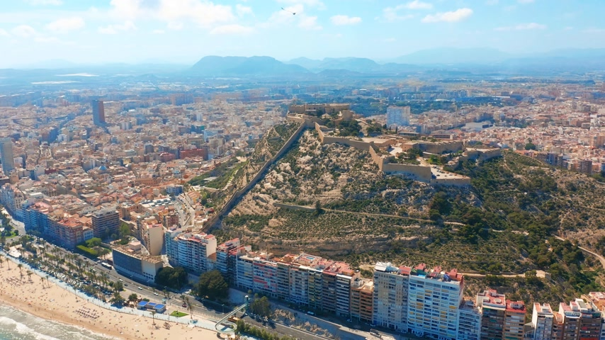 alpes : Aerial view of the Santa Barbara castle in Alicante, Spain. Stock Footage