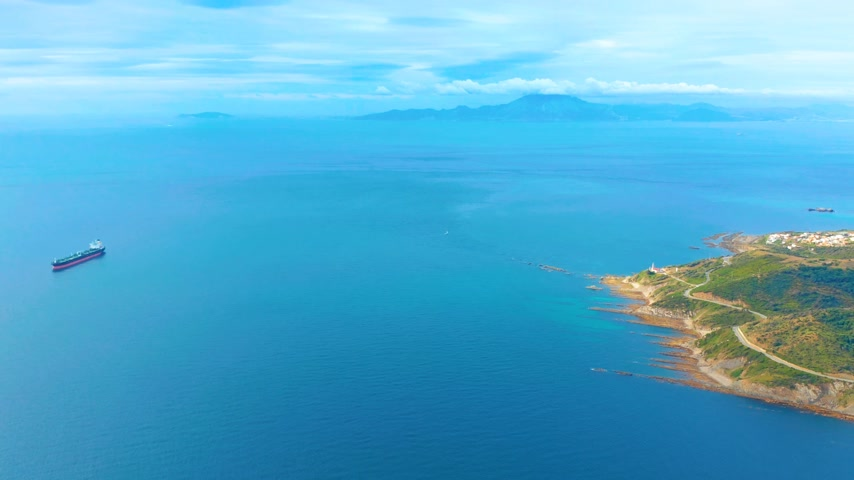 iberian : Aerial view. Strait of Gibraltar pass, views of Africa.