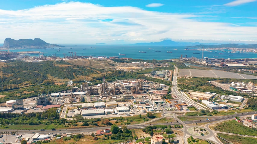 dockyard : Aerial view. Gibraltar-San Roque Refinery, Southern Spain. Stock Footage